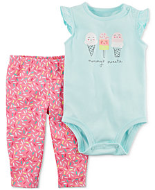 Carter's 2-Pc. Ice Cream Cotton Bodysuit & Pants Set, Baby Girls