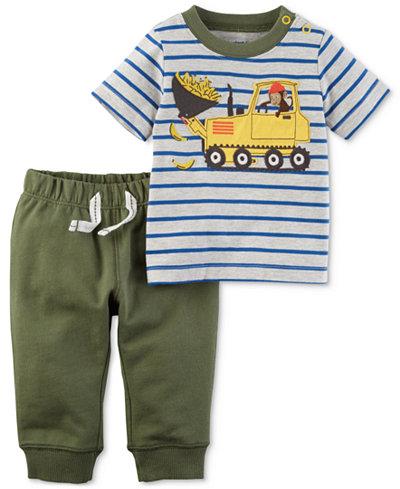 Carter's 2-Pc. Graphic-Print Cotton T-Shirt & Jogger Pants Set, Baby Boys