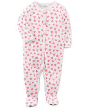 Carters HeartPrint Footed Cotton Coverall Baby Girls (024 months)