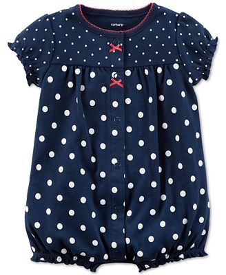 Carter's Dot-Print Strawberry Cotton Romper, Baby Girls
