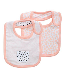 First Impressions 2-Pk. Printed Bibs, Baby Girls, Created for Macy's