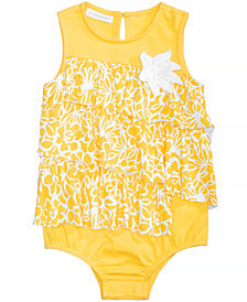 First Impressions Floral-Print Ruffled Cotton Romper, Baby Girls, Created for Macy's