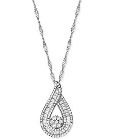Cubic Zirconia Baguette Swirl Cluster Pendant Necklace in Sterling Silver