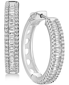 Cubic Zirconia Small Hoop Earrings in Sterling Silver