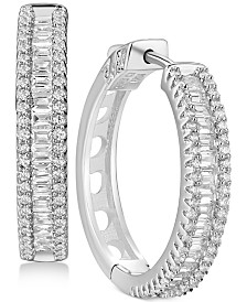 Cubic Zirconia Small Hoop Earrings in Sterling Silver