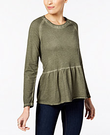 Style & Co Peplum Flounce Top, Created for Macy's