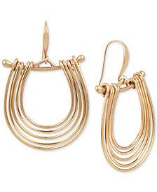 Robert Lee Morris Soho Gold-Tone Multi-Row Drop Hoop Earrings