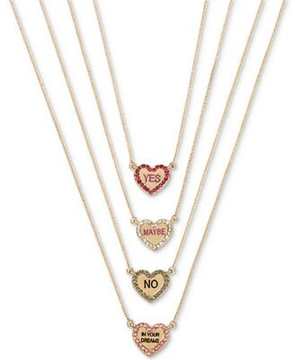 Betsey Johnson Gold-Tone 4-Pc. Set Crystal Candy Heart Pendant Necklaces