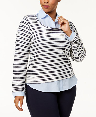 Tommy Hilfiger Plus Size Layered-Look Striped Collared Top, Created for Macy's