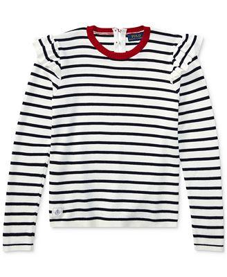 Polo Ralph Lauren Ralph Lauren Striped Ruffle Trim Cotton Sweater