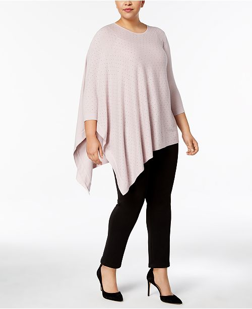 Anne Klein Plus Size Rhinestone Asymmetrical-Hem Sweater