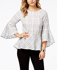 kensie Cotton Plaid Peplum Top