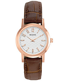 Bulova Women's Brown Leather Strap Watch 27mm 97L121