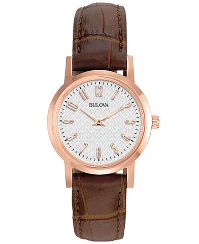 Bulova Women's Brown Leather Strap Watch 27mm 97L121