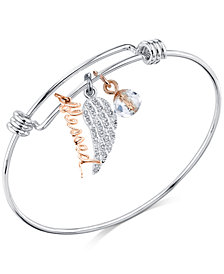 """Unwritten Two-Tone """"Blessed"""" Crystal Wing Bangle Bracelet in Stainless Steel and Rose Gold-Tone"""
