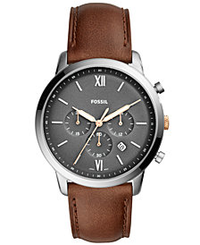 Fossil Men's Chronograph Neutra Light Brown Leather Strap Watch 44mm