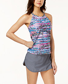 GO by Gossip Spectrum High-Neck Tankini Top & Swim Skirt, Created for Macy's