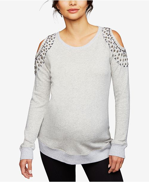 A Pea in the Pod Maternity Embellished Cold-Shoulder Sweatshirt