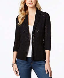 JM Collection Petite Open-Knit 3/4-Sleeve Cardigan, Created for Macy's