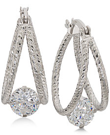 Giani Bernini Cubic Zirconia Captured Hoop Earrings, Created for Macy's