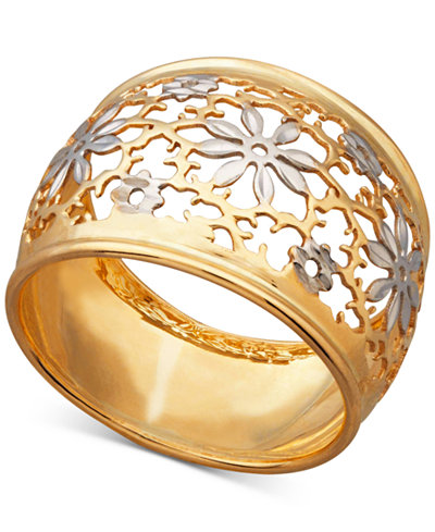 Two-Tone Filigree Flower Ring in 14k Gold & Rhodium-Plate