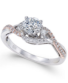 Diamond Two-Tone Twist Engagement Ring (3/4 ct. t.w.) in 14k White and Rose Gold