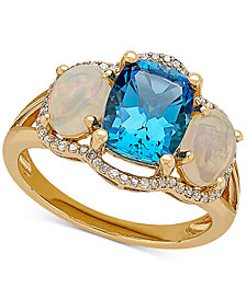 Multi-Gemstone (3-5/8 ct. t.w.) & Diamond (1/6 ct. t.w.) Ring in 10k Gold