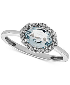 Aquamarine (1-1/5 ct. t.w.) & Diamond Accent Ring in 14k White Gold