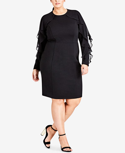 City Chic Trendy Plus Size Ruffle-Sleeve Sheath Dress