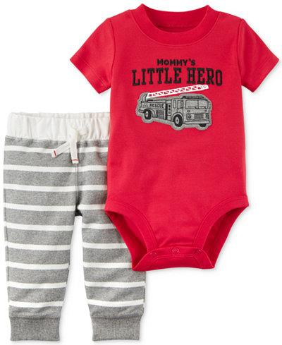 Carter's 2-Pc. Cotton Little Hero Bodysuit & Striped Jogger Pants Set, Baby Boys