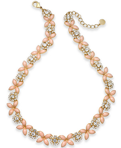 Charter Club Gold-Tone Crystal & Pink Stone Collar Necklace, Created for Macy's