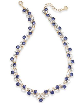 Charter Club Gold-Tone Crystal & Purple Stone Collar Necklace, Created for Macy's