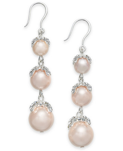 Charter Club Silver-Tone Pavé & Pink Imitation Pearl Triple-Drop Earrings, Created for Macy's