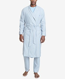 Men's Windowpane Plaid Cotton Robe