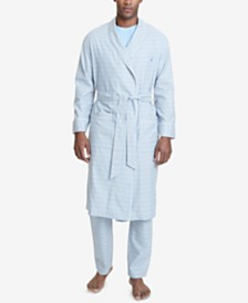 Nautica Men's Windowpane Plaid Cotton Robe