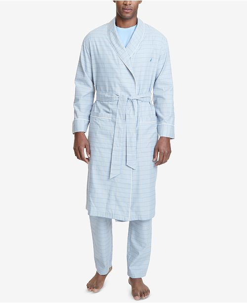 Nautica Men's Windowpane Plaid Cotton Robe