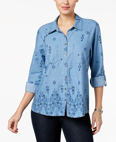 Style & Co Cotton Utility Shirt, Created for Macy's