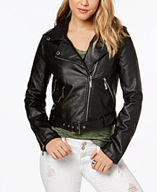 Jou Jou Faux-Leather Asymmetrical Moto Jacket