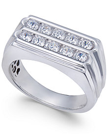 Men's Diamond Two-Row Ring (1 ct. t.w.) in 10k White Gold