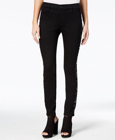 Buffalo David Bitton Faith Embellished-Side Skinny Jeans