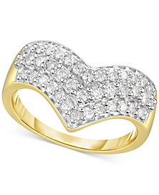 Diamond Multi-Row Chevron Ring (1/2 ct. t.w.) in 14k Gold