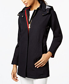 Vince Camuto Hooded Contrast-Trim Raincoat