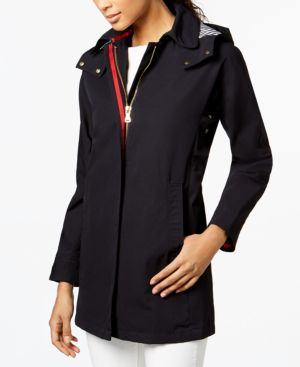 HOODED CONTRAST-TRIM RAINCOAT