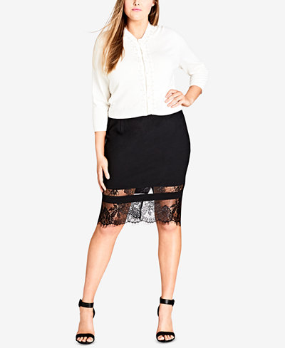 City Chic Trendy Plus Size Beaded Cropped Cardigan