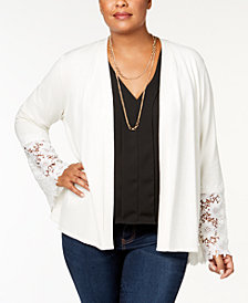 Charter Club Plus Size Lace-Cuff Draped Cardigan, Created for Macy's