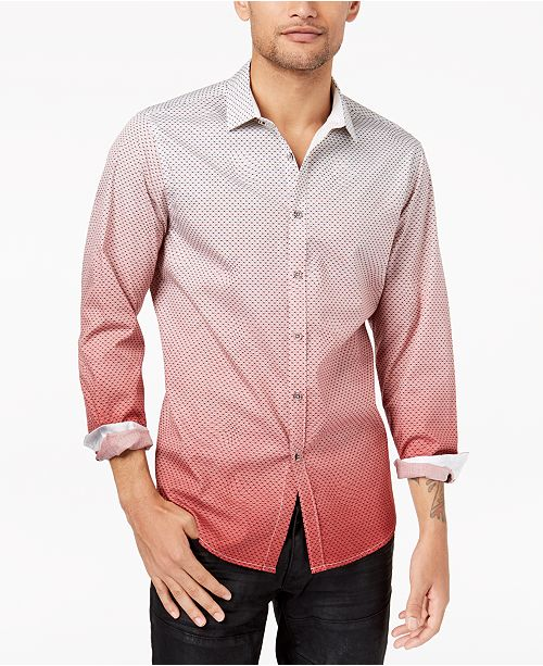 INC International Concepts I.N.C. Men's Ombré Geometric Pattern Shirt, Created for Macy's