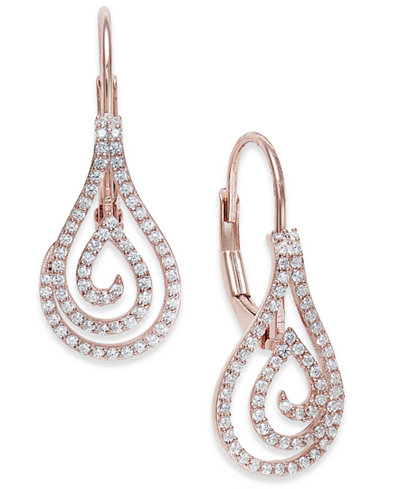 Diamond Spiral Teardrop Earrings (1/4 ct. t.w.) in 10k Rose Gold