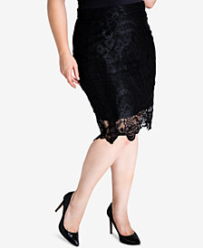 standards and practices Plus Size Emily Lace Pencil Skirt
