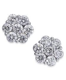 Diamond Cluster Stud Earrings (2 ct. t.w.) in 14k White Gold