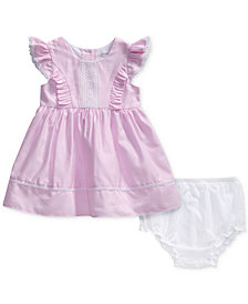 Sweet Heart Rose Striped Lace-Trim Dress, Baby Girls
